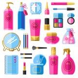 Iconos planos de los accesorios de la belleza del maquillaje fijados Imagen de archivo libre de regalías