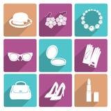 Iconos planos de los accesorios de la mujer fijados Fotografía de archivo
