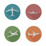 Iconos planos de los aeroplanos Foto de archivo libre de regalías