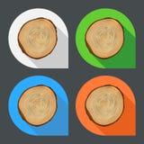 Iconos planos de los anillos de crecimiento del árbol Fotografía de archivo