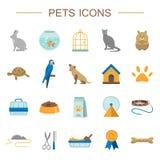 Iconos planos de los animales domésticos fijados stock de ilustración