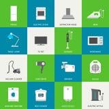 Iconos planos de los aparatos electrodomésticos Fotografía de archivo libre de regalías