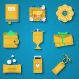 Iconos planos de los artículos de la artesanía fijados Imagenes de archivo