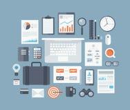 Iconos planos de los artículos del negocio fijados libre illustration