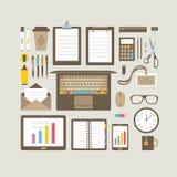 Iconos planos de los artículos del negocio fijados Fotos de archivo