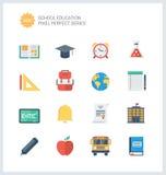 Iconos planos de los artículos perfectos de la educación del pixel fijados Fotos de archivo libres de regalías