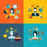 Iconos planos de los avatares Imagen de archivo libre de regalías