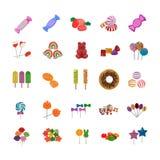 Iconos planos de los caramelos dulces stock de ilustración
