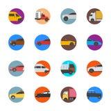 Iconos planos de los coches y de los vehículos comerciales Ilustración del Vector