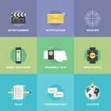 Iconos planos de los dispositivos usables elegantes fijados Imagen de archivo