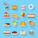 Iconos planos de los dulces Fotografía de archivo