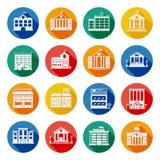 Iconos planos de los edificios del gobierno stock de ilustración