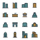 Iconos planos de los edificios del vector fijados Foto de archivo libre de regalías