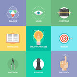 Iconos planos de los elementos creativos del diseño Fotos de archivo libres de regalías