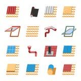 Iconos planos de los elementos de la construcción del tejado fijados Imágenes de archivo libres de regalías