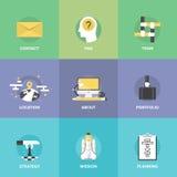 Iconos planos de los elementos de la organización de la empresa fijados Foto de archivo libre de regalías