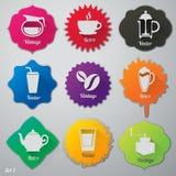 Iconos planos de los elementos del café fijados Fotografía de archivo libre de regalías