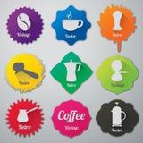 Iconos planos de los elementos del café fijados Imagen de archivo