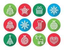 Iconos planos de los iconos de la Navidad - árbol de Navidad, presente, reno Fotografía de archivo