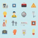 Iconos planos de los instrumentos de las herramientas del electricista fijados Foto de archivo libre de regalías