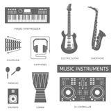 Iconos planos de los instrumentos musicales Fotos de archivo