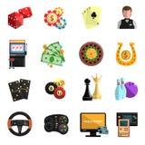 Iconos planos de los juegos de juego del casino fijados Imagen de archivo libre de regalías