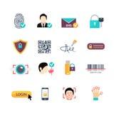 Iconos planos de los métodos seguros de la verificación fijados Fotos de archivo libres de regalías