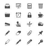 Iconos planos de los materiales de oficina Fotografía de archivo libre de regalías