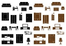 Iconos planos de los muebles fijados Fotografía de archivo