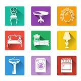 Iconos planos de los muebles y del equipo para el hogar Imagenes de archivo