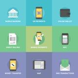 Iconos planos de los pagos móviles fijados