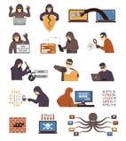 Iconos planos de los piratas informáticos de la seguridad de Internet fijados Imagenes de archivo
