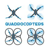 Iconos planos de los quadrocopters Foto de archivo