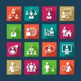 Iconos planos de los recursos humanos