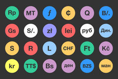 Iconos planos 2 de los símbolos de moneda foto de archivo
