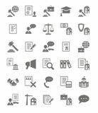 Iconos planos de los servicios jurídicos Imágenes de archivo libres de regalías