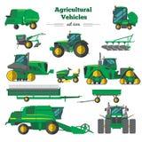 Iconos planos de los vehículos agrícolas fijados stock de ilustración