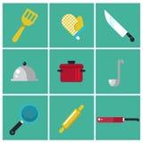 Iconos planos de moda de la cocina Sistema de cocinar iconos Elementos de los cocineros para el gráfico de la información Ilustra Imagenes de archivo