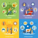 Iconos planos de People 2x2 del mensajero de la entrega fijados stock de ilustración