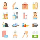 Iconos planos de Skincare y de Bodycare stock de ilustración