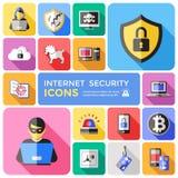 Iconos planos decorativos de la seguridad de Internet fijados Imágenes de archivo libres de regalías