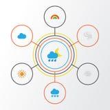 Iconos planos del aire fijados Colección de granizos, tormenta, Windy And Other Elements También incluye símbolos tal como la nub libre illustration