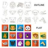 Iconos planos del animal salvaje en la colección del sistema para el diseño El mamífero y el pájaro vector el ejemplo común del w stock de ilustración