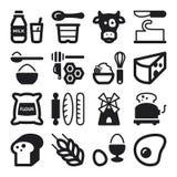 Iconos planos del azúcar del pan del huevo de la lechería. Negro Fotos de archivo