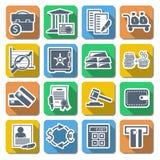 Iconos planos del banco del vector Foto de archivo libre de regalías