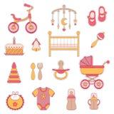 Iconos planos del bebé Fotos de archivo libres de regalías