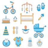 Iconos planos del bebé Fotografía de archivo