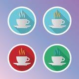 Iconos planos del café fijados Fotografía de archivo