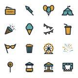 Iconos planos del carnaval del vector fijados Foto de archivo