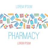 Iconos planos del cartel de la farmacia libre illustration